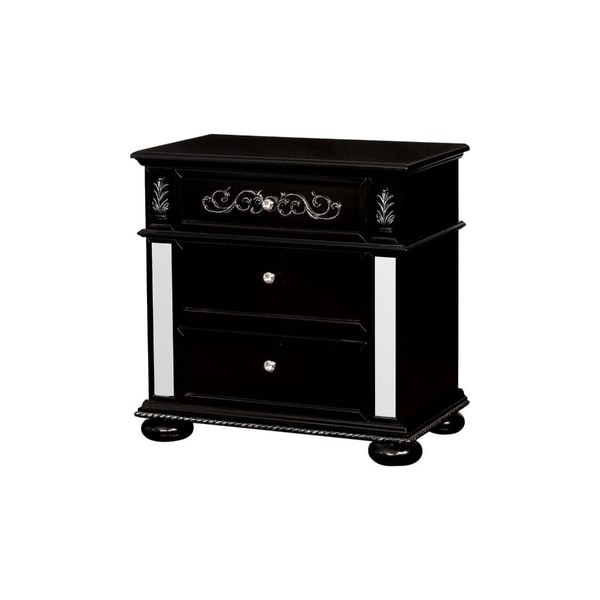 Three Drawer Solid Wood Nightstand with Crystal Knobs and Bun Feet, Black