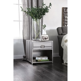 Industrial Style Metal Nightstand with Drawer and Bottom Shelf, Gray