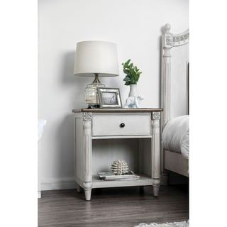 Dual Tone Solid Wood Night Stand with Turned Pillar Style Legs, White and Brown