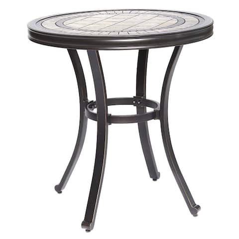 "dali Handmade Dining Table Contemporary Round a Tile-Top Design with Heavy-Duty Aluminum Frame 28"" Dia x 28.6"" Height"
