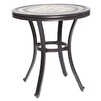 """dali Handmade Dining Table Contemporary Round a Tile-Top Design with Heavy-Duty Aluminum Frame 28"""" Dia x 28.6"""" Height"""