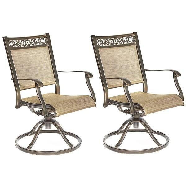 Dali Swivel Rocker Chair, Cast Aluminum All Weather Comfort Club Arm Patio  Ding Chair 2 Pc
