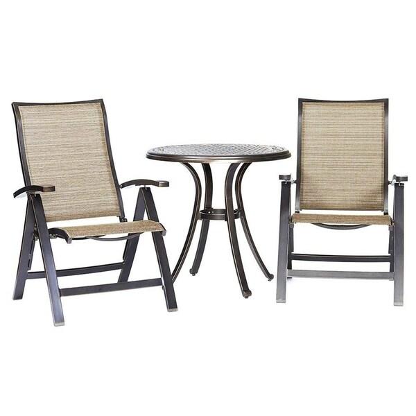 "Dali 3 Piece Patio Dining Set, 28"" Cast Aluminum Dining Table Folding Chairs Bistro Set"