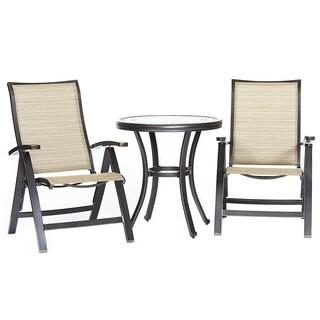 "Dali 3 Piece Patio Dining Set, 28"" Cast Aluminum Round Table Folding Chairs Outdoor Patio Furniture  Bistro Set"