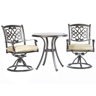 "Dali 3 Piece Patio Dining Set, 28"" Cast Aluminum Dining Table Patio Swivel Rockers Outdoor Furniture  Bistro Set"