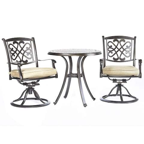 "Dali 3 Piece Patio Dining Set, 28"" Cast Aluminum Dining Table Patio Swivel Rockers Outdoor Furniture Bistro Set"