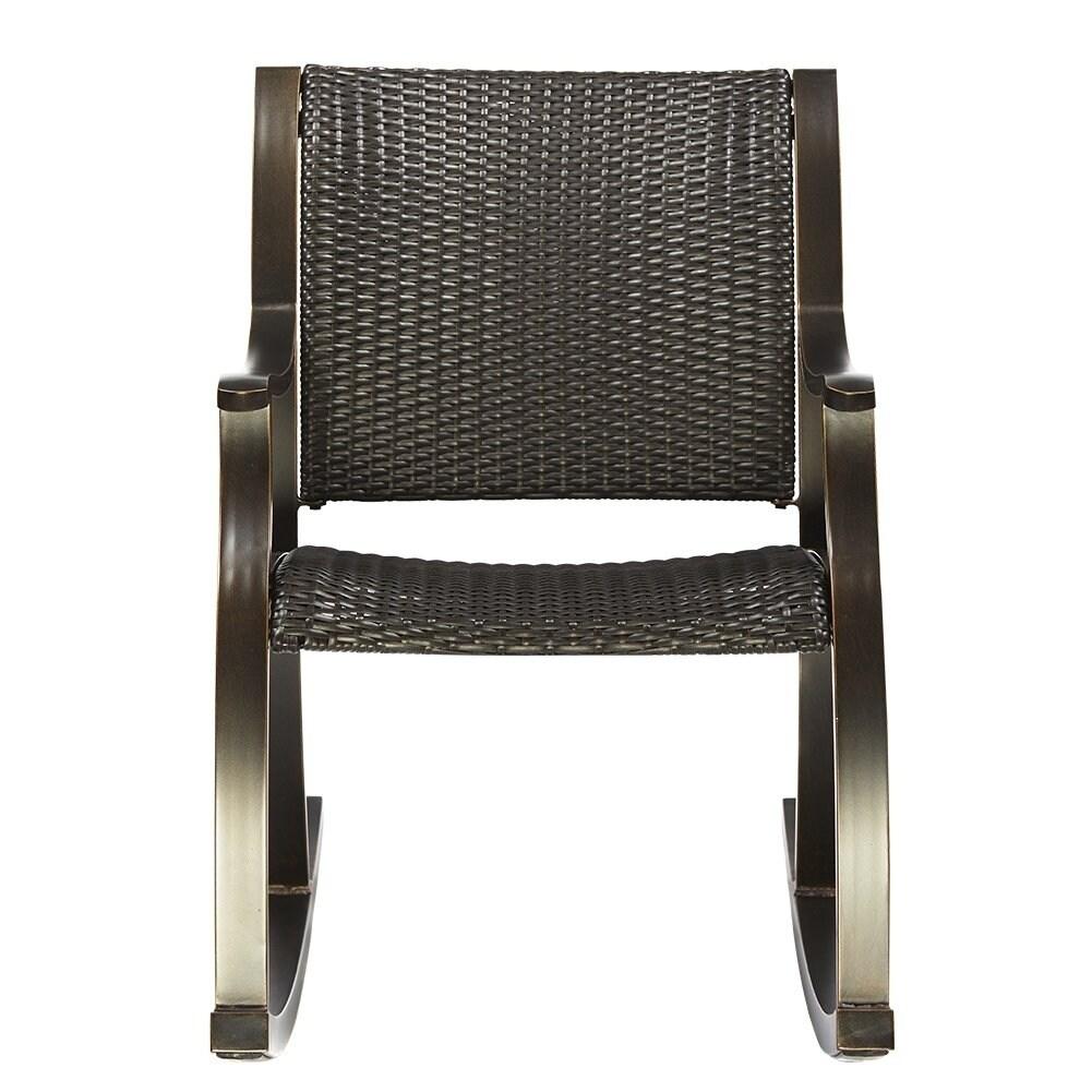 Dali Rattan Rocker Chair Weather Resistant Wicker Rocking Armchair Cast Aluminum Fram Outdoor