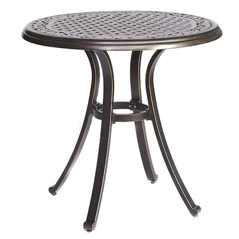"dali Bistro Table, Square Cast Aluminum Round Outdoor Patio Dining Table 28"" Dia x 28.6"" Height"