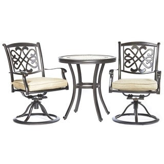 "Dali 3 Piece Patio Dining Set, 28"" Cast Aluminum Round Table Patio Swivel Chairs  Outdoor Furniture  Bistro Set"