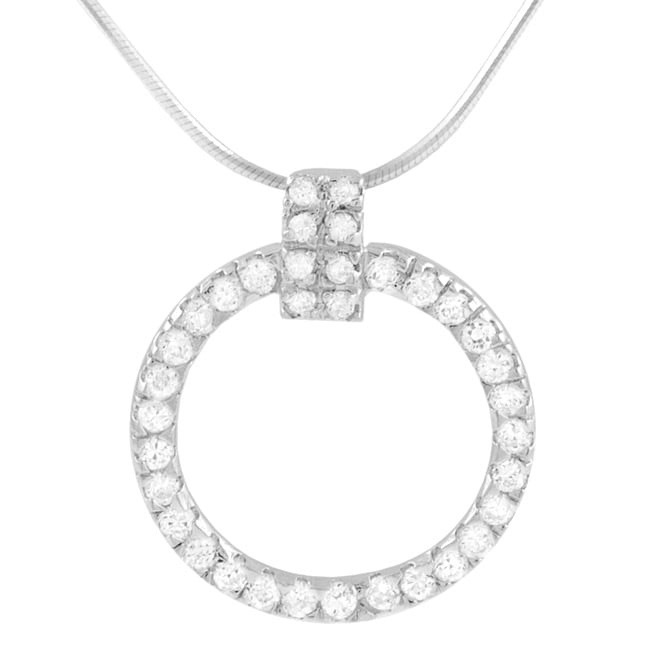Journee Sterling Silver CZ Elegant Circle Necklace