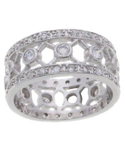 Journee Collection Sterling Silver CZ Wide Band Ring - Thumbnail 2
