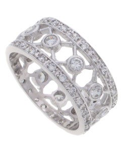 Journee Collection Sterling Silver CZ Wide Band Ring