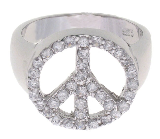 Journee Sterling Silver Cubic Zirconia Peace Ring