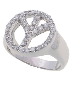 Journee Sterling Silver Cubic Zirconia Peace Ring - Thumbnail 1
