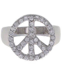 Journee Sterling Silver Cubic Zirconia Peace Ring - Thumbnail 2