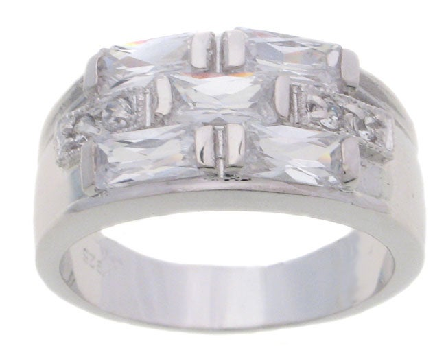 Journee Collection Sterling Silver Checkerboard CZ Bridal and Engagement Ring