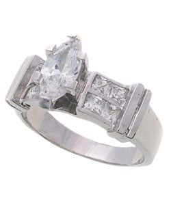 Journee Collection  Sterling Silver CZ Marquise Engagement Ring - Thumbnail 1