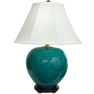 Handmade 24-inch Azure Jar Lamp (China)