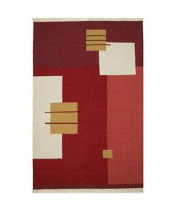Hand-woven Ganpat Flat Weave Wool Rug (8' x 10'6)