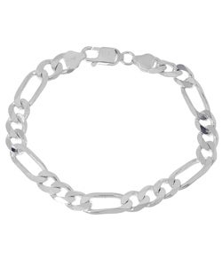 Sterling Essentials Sterling Silver 8-inch Diamond-cut Figaro Chain Bracelet (8mm)