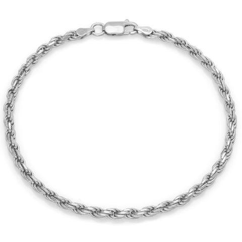 Sterling Silver 7-inch Diamond Cut Rope Bracelet