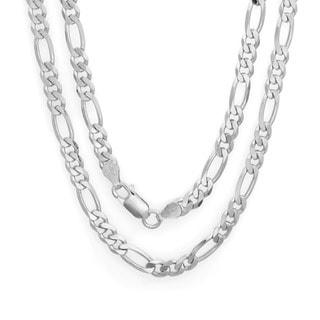 Sterling Silver 5 mm Diamond-cut Figaro Bracelet (7 Inch)