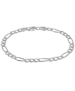 Sterling Essentials Silver 5 mm Diamond-cut Figaro Bracelet (7 Inch)