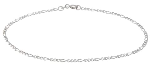 Roberto Martinez Silver 2 mm Figaro Chain Anklet (9 Inch)