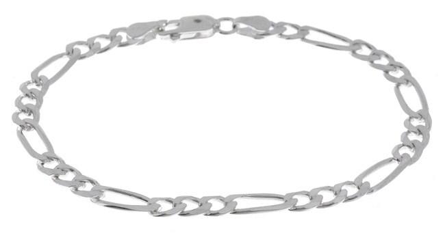 Sterling Essentials Silver 5 mm Diamond-cut Figaro Bracelet (9 Inch)