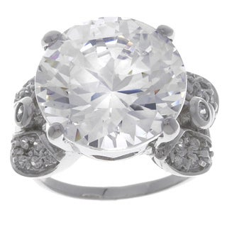 Sterling Silver Round CZ and Leaf Motif Ring