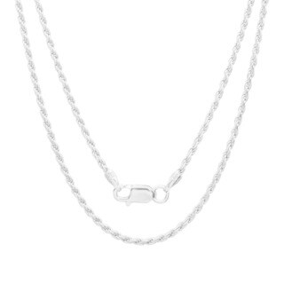 Sterling Essentials Sterling Silver 1.5mm Diamond-Cut Rope Chain (Option: Rose)