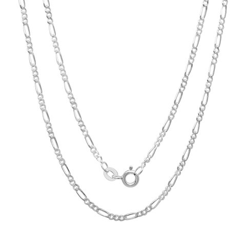 Sterling Silver 2 mm Figaro Chain (16-24 Inch) - White