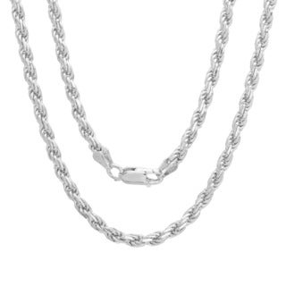 Sterling Essentials Sterling Silver 22-inch Diamond-Cut Rope Chain (3mm) (Option: 24 Inch)
