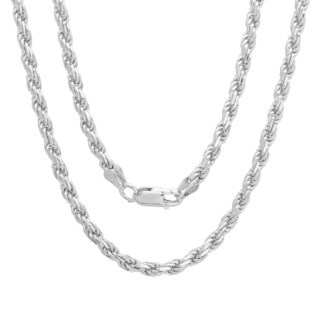 Italian Sterling Silver 3 mm Diamond-Cut Rope Chain (18-24 Inch)
