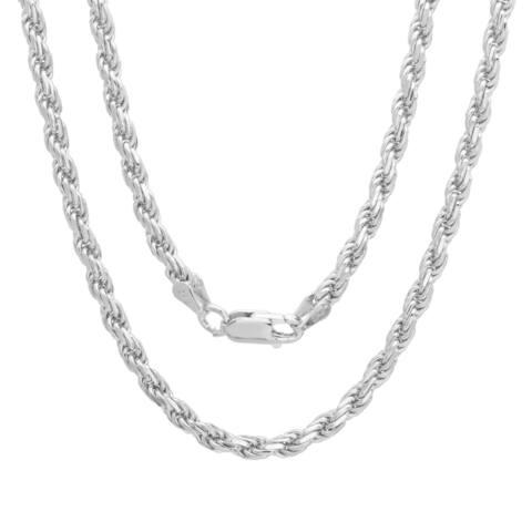 Italian Sterling Silver 3 mm Diamond-Cut Rope Chain (18-24 Inch)