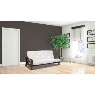 Serta Diablo Dark Cherry Arm and Serta Chestnut Cotton and CertiPUR Foam Futon Mattress