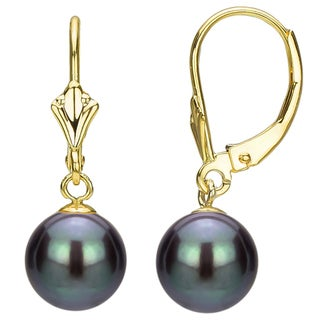 DaVonna 14k Gold Black Perfect Round Akoya Pearl Leverback Earrings (8-8.5 mm)