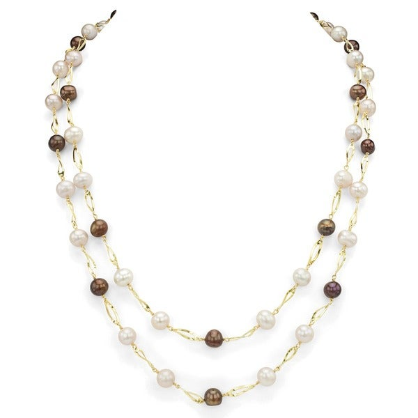 """DaVonna Gold Over Silver 7-8mm Pink and Brown Freshwater Pearl Link Endless Necklace, 46"""""""