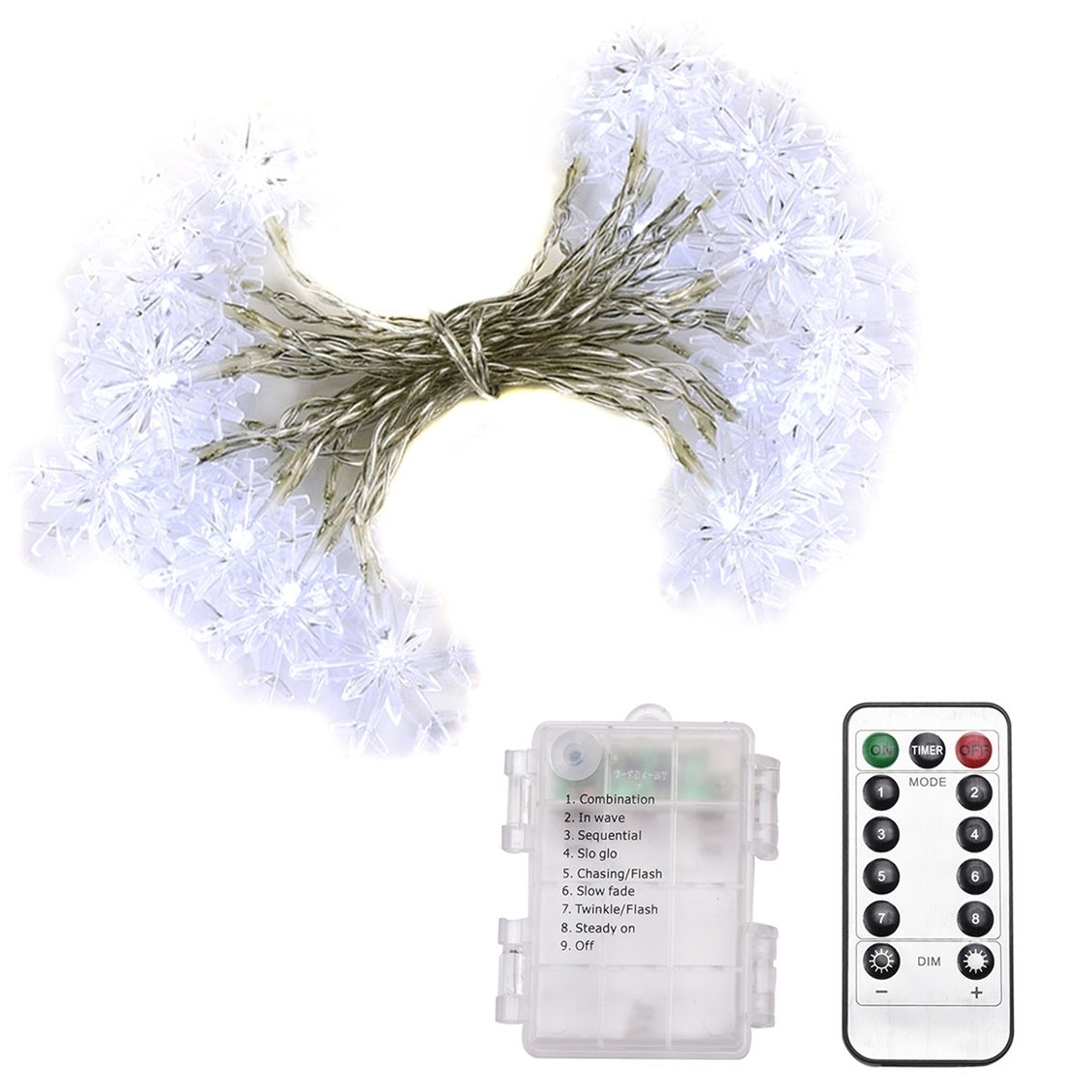 Abba Patio 32ft Led String Lights 8 Modes Remote Control Battery Operated Dimmable Snowflake White