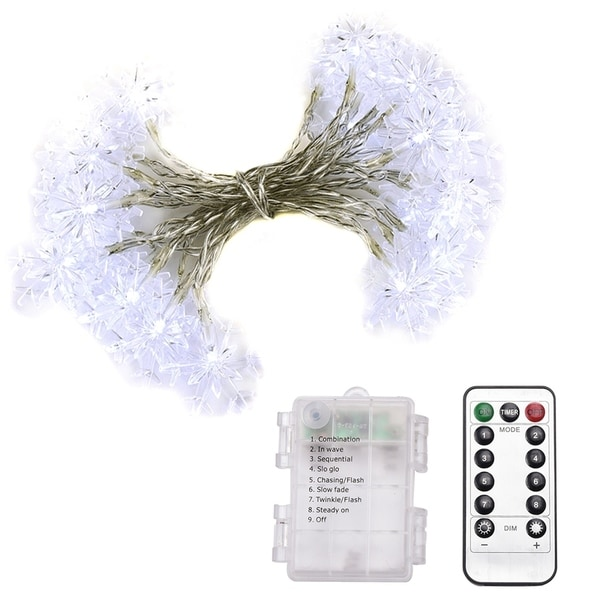 Abba Patio 32ft Led String Lights 8 Modes Remote Control Battery Operated Dimmable Snowflake