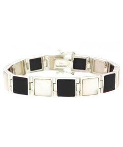 Glitzy Rocks Sterling Silver Onyx and Mother of Pearl Bracelet