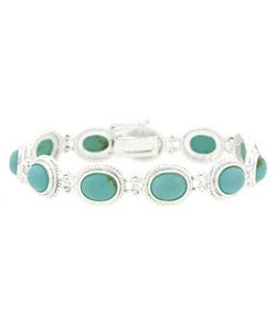 Glitzy Rocks Sterling Silver Oval Turquoise Bracelet