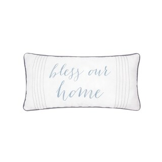 Home Blessings Embroidered Cotton Pillow