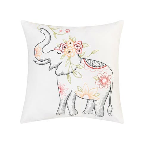 Tropical Elephant Indoor / Outdoor Embroidered Decorative Accent Throw Pillow