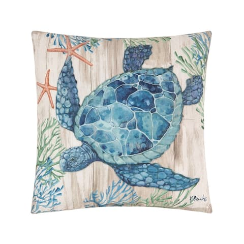 Turtle Sealife Coastal Beach Indoor/Outdoor 18x18 Accent Decorative Accent Throw Pillow