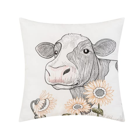 Happy Sunflower Cow Indoor / Outdoor Embroidered Decorative Accent Throw Pillow