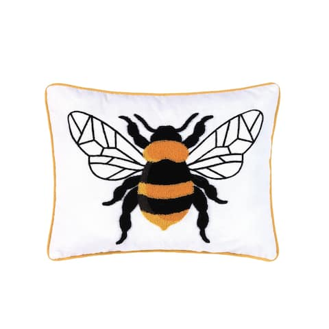 Bumble Bee Embroidered Decorative Accent Throw Pillow