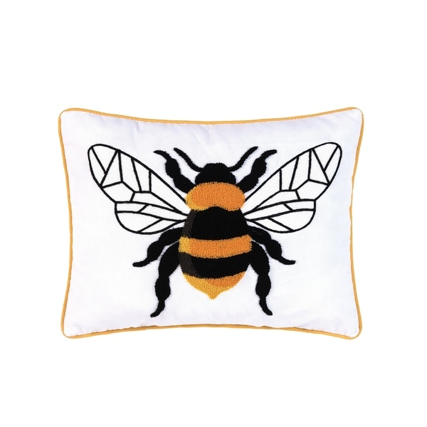 Bumble Bee Embroidered Pillow