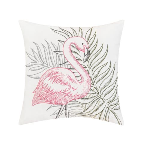 Flamingo Tropics Indoor / Outdoor Embroidered Decorative Accent Throw Pillow