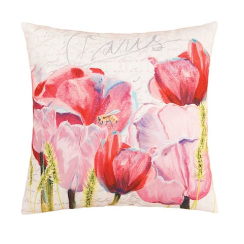 Pink Tulips Floral Indoor/Outdoor 18x18 Throw Accent Decorative Accent Throw Pillow